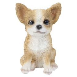 Small Image of Realistic 15cm Sitting Chihuahua Puppy Dog Statue Ornament