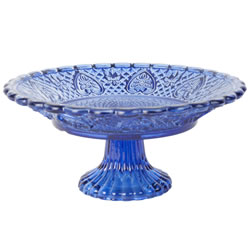 Small Image of Vintage Crystal Look Blue Glass 20cm Cake Plate Display Stand
