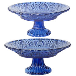 Small Image of 2 Vintage Crystal Look Blue Glass Cake Display Stands 20 & 25cm