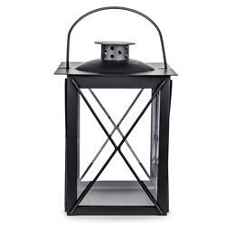 Small Image of Traditional Black Metal & Glass 20cm Garden or Home Candle Lantern