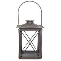 Small Image of Farol' Charcoal Grey Metal Traditional 20cm Garden Lantern with Handle
