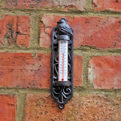 Small Image of Cast Iron Wall Mountable Garden Thermometer Bird Design
