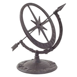 Small Image of Cast Iron Decorative Sundial Armillary Garden Ornament