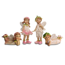 Small Image of Set of Four Flower Fairy Resin Garden Ornaments