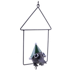 Small Image of Hanging Metal Green Christmas Fat Ball Holder Bird Feeder