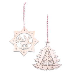 Small Image of Set of Two Nordic Wooden Christmas Tree Decorations