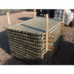 Small Image of 10x 1.2m (4ft) tall x 40mm dia Treated Round Fence Posts