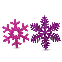 Small Image of Set of Two Wooden Snowflake Tree Decorations with Purple & Pink Glitter Finish