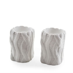 Small Image of Small Knitted Look Ceramic Tealight Holder Set