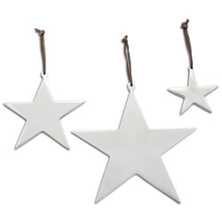 Small Image of Set of Three Hanging Aluminium Star Christmas Decorations