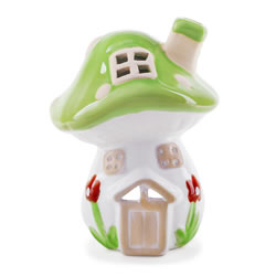 Small Image of Mushroom House Terracotta Tealight Lantern for Garden or Home
