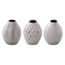 Small Image of 'Celly' Silver Stoneware Contemporary Trio of Bud Vases for the Home