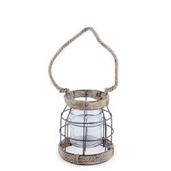 Small Image of Carlo' Metal & Rope Nautical 18cm Garden Home Wedding Lantern