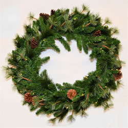 Small Image of Tree Classics 75cm (2.5ft) Northern Spruce Wreath with Warm LEDs (730-240-377L)