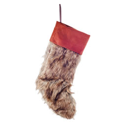 Small Image of Faux Fur & Felt Christmas Stocking