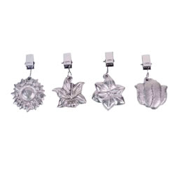 Small Image of Set of Four Clip-On Flower Shaped Metal Tablecloth Weights