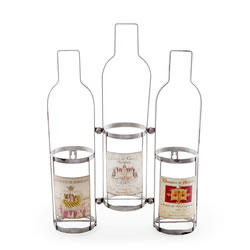 Small Image of Wall Mountable Triple Wine Bottle Rack with Vintage Labels