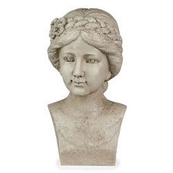 Small Image of Stone Look Resin Flower Girl with Braid Bust Garden Statue Ornament