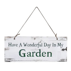 Small Image of Have A Wonderful Day In My Garden' Rustic Wooden Garden Sign