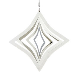 Small Image of Hanging Rhombus Silver Metal Garden Windspinner Ornament