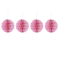 Small Image of Pack of Four Pink 10cm Honeycomb Retro Pom Pom Decorations
