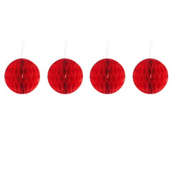 Small Image of Pack of Four Red 10cm Honeycomb Retro Pom Pom Decorations