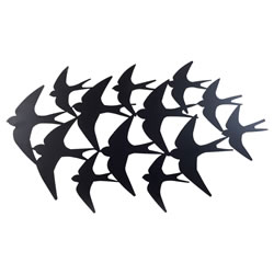 Small Image of Large Black Metal Flying Swallow Bird Silhouette Wall Art