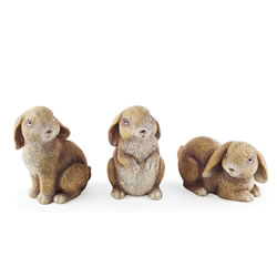 Small Image of The Nibblers' Detailed Resin Rabbit Garden Ornament Trio