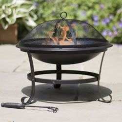 Small Image of La Hacienda Albion Steel Fire Bowl - Black