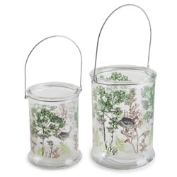 Small Image of 'In the Woods' Set of Two Glass Windlight Candle Holder Lanterns with Nature Theme