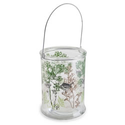Small Image of 'In the Woods' 21cm Glass Windlight Candle Holder w. Nature Theme
