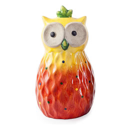 Small Image of Orange Tropic Sunshine Terracotta Owl Garden Ornament