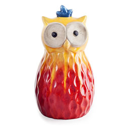 Small Image of Red Tropic Sunshine Terracotta Owl Garden Ornament