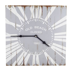 Small Image of Skye' Old Beach Style Wooden Square Home Wall Clock