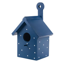 Small Image of Bright Blue Wooden Wall Mountable Decorative Garden Bird Box House