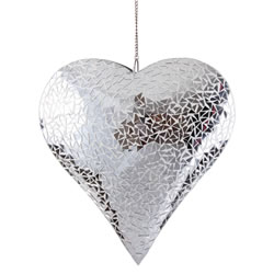 Small Image of Large 32cm Silver Mirror Mosaic Glass Hanging Heart Ornament