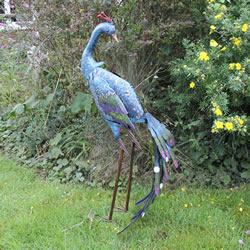 Small Image of Large Garden Peacock Coloured Metal Ornament in Blue