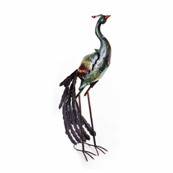 Small Image of Large Green Coloured Peacock Metal Garden Ornament