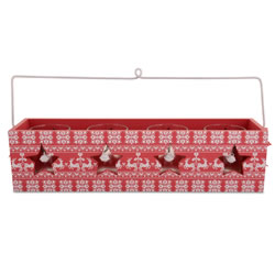 Small Image of Red Festive Design Wooden Painted Tealight Holder for Four Candles