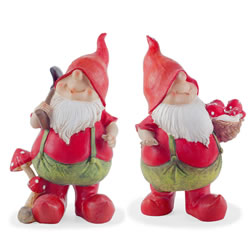 Small Image of Max & Mason the Traditional Red Gardening Gnome Figurine Ornament Pair