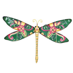 Small Image of Aloha' Tropical Design Green Metal Garden Dragonfly Wall Art Ornament