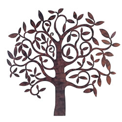 Small Image of Large Rusty Finish Metal Tree Garden or Home Wall Art