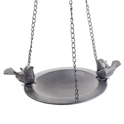Small Image of Bosworth' Hanging Decorative Black Metal Bird Feeder Bowl