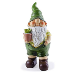 Small Image of Cameron the Busy Gardening Gnome Ornament with Flowerpot