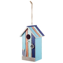 Small Image of Hanging Painted Wooden Beach Hut Bird House with Peach Stripe