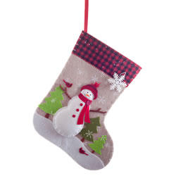 Small Image of Felt Christmas 50cm Stocking with Coloured Snowman Scene