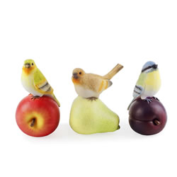 Small Image of Trio of Fruit Loving Realistic Resin Bird Ornaments for Garden or Home