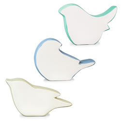 Small Image of Contemporary Set of 3 White, Blue & Grey Ceramic Bird Silhouette Home Ornaments