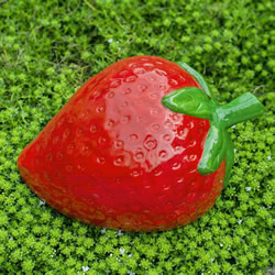 Small Image of Large Bright Red Terracotta Strawberry Fruit Garden or Home Ornament