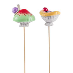 Small Image of Pair of Glazed Terracotta Garden Mushroom Ornaments on Sticks with Insects